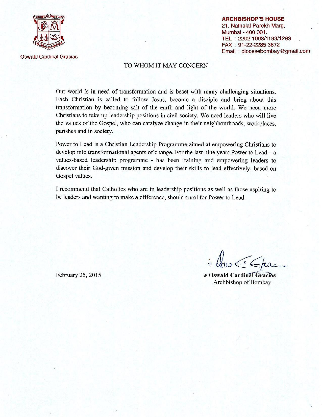 Letter from Archbishop